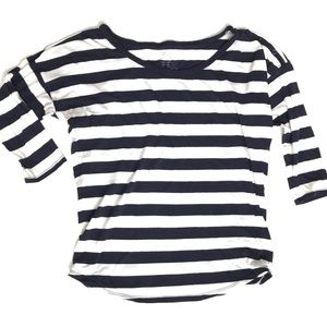 GAP Navy and White Striped Button Shoulder Tee